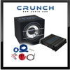 CRUNCH Basspaket 2-Kanal Endstufe/Verstärker+25cm Subwoofer+Kabel-SET - 500 Watt